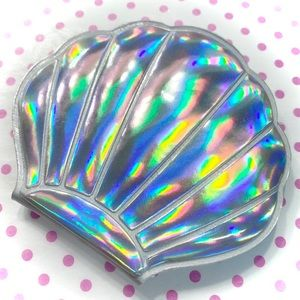 Kawaii Silver Holographic Sea Shell Mirror Compact